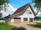 Одноэтажный жилой дом с подвалом, террасой и мансардой